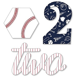 2nd Birthday Batter Up - Baseball - DIY Shaped Second Birthday Party Cut-Outs - 24 ct