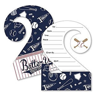 2nd Birthday Batter Up - Baseball - Shaped Fill-In Invitations - Second Birthday Party Invitation Cards with Envelopes - Set of 12