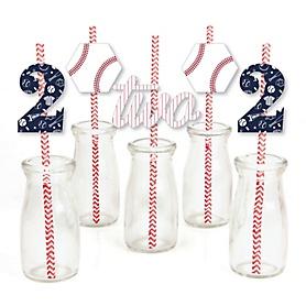 2nd Birthday Batter Up - Baseball - Paper Straw Decor - Second Birthday Party Striped Decorative Straws - Set of 24