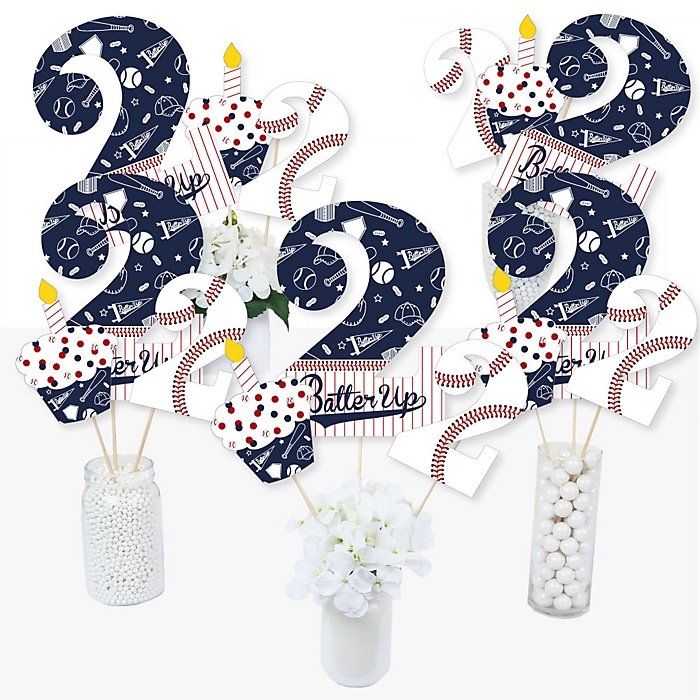 2nd Birthday Batter Up - Baseball - Second Birthday Party Centerpiece Sticks - Table Toppers - Set of 15