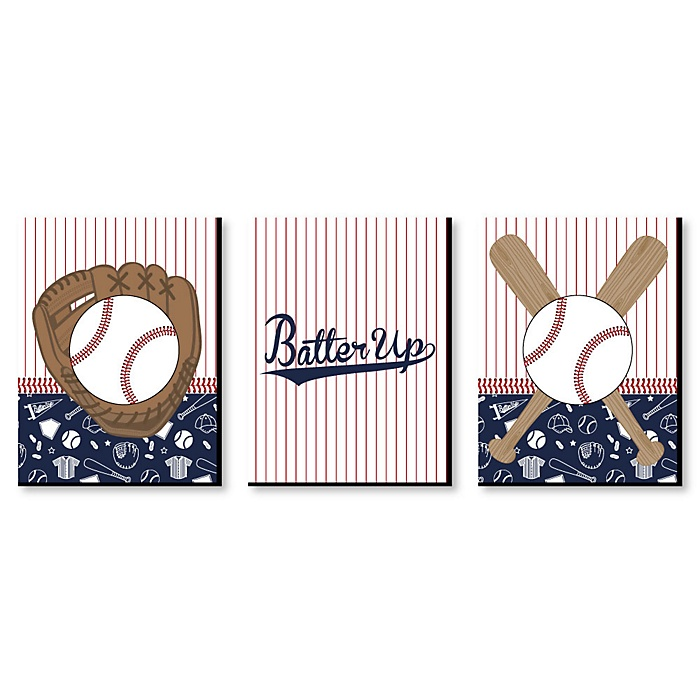 Batter Up - Baseball - Sports Themed Nursery Wall Art, Kids Room Decor and Game Room Home Decorations - 7.5 x 10 inches - Set of 3 Prints