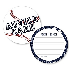 Batter Up - Baseball - Wish Card Baby Shower Activities - Shaped Advice Cards Game - Set of 20