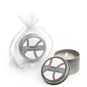 Batter Up - Baseball - Candle Tin Personalized Baby Shower Favors