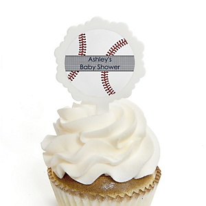Batter Up - Baseball - 12 Cupcake Picks & 24 Personalized Stickers - Baby Shower Cupcake Toppers
