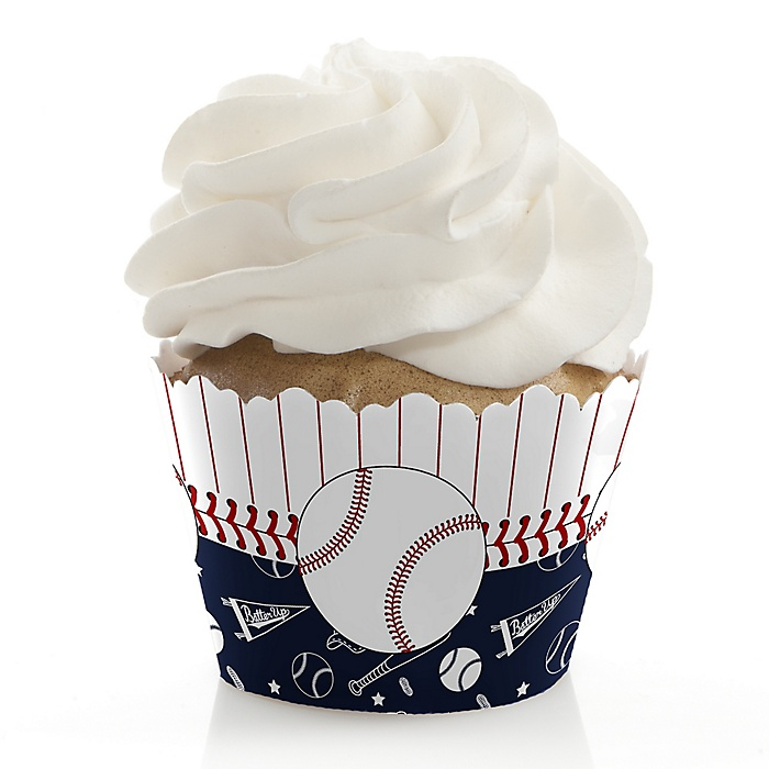 Batter Up - Baseball - Baby Shower Decorations - Party Cupcake Wrappers - Set of 12