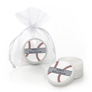 Batter Up - Baseball - Personalized Baby Shower Lip Balm Favors - Set of 12