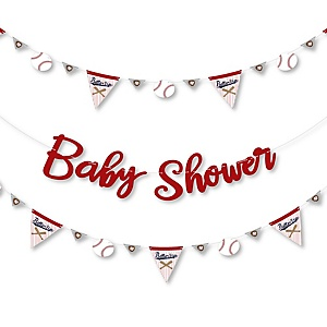 Batter Up - Baseball - Baby Shower Letter Banner Decoration - 36 Banner Cutouts and Baby Shower Banner Letters
