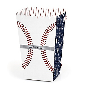 Batter Up - Baseball - Personalized Party Popcorn Favor Treat Boxes - Set of 12