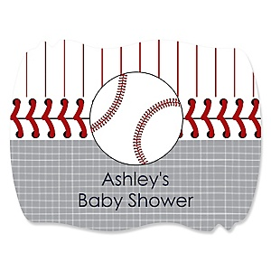 Batter Up - Baseball - Personalized Baby Shower Squiggle Stickers - 16 ct