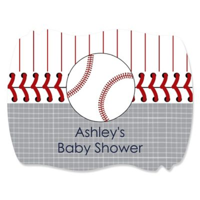Batter Up   Baseball   Personalized Baby Shower Squiggle Stickers   16 Ct