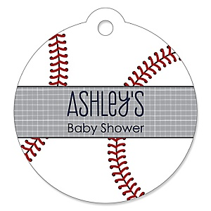 Batter Up - Baseball - Round Personalized Baby Shower Tags - 20 ct