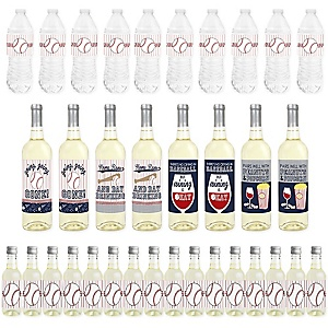 Batter Up - Baseball - Mini Wine Bottle Labels, Wine Bottle Labels and Water Bottle Labels - Baby Shower or Birthday Party Decorations - Beverage Bar Kit - 34 Pieces