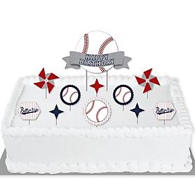 Batter Up - Baseball - Birthday Party Cake Decorating Kit - Happy Birthday Cake Topper Set - 11 Pieces