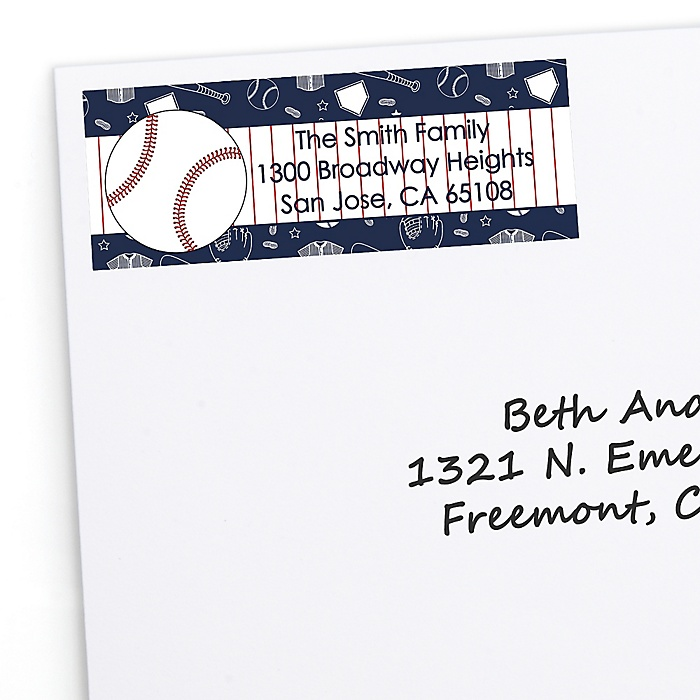 Batter Up - Baseball - Personalized Birthday Party Return Address Labels - 30 ct