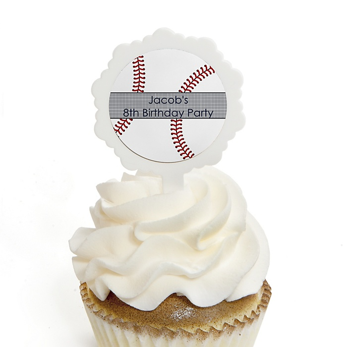 Batter Up - Baseball - Personalized Birthday Party Cupcake Pick and Sticker Kit - 12 ct