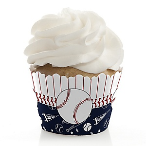Batter Up - Baseball - Birthday Decorations - Party Cupcake Wrappers - Set of 12