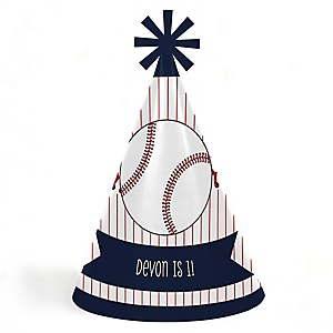 Batter Up - Baseball - Personalized Cone Happy Birthday Party Hats for Kids and Adults - Set of 8 (Standard Size)