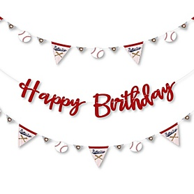 Batter Up - Baseball - Birthday Party Letter Banner Decoration - 36 Banner Cutouts and Happy Birthday Banner Letters