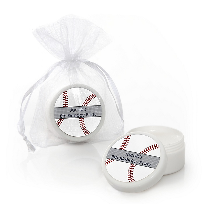Batter Up - Baseball - Personalized Birthday Party Lip Balm Favors - Set of 12