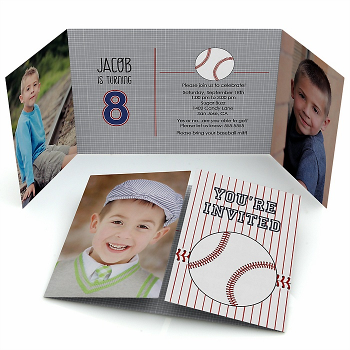 Batter Up - Baseball - Personalized Birthday Party Photo Invitations - Set of 12