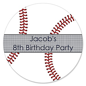 Batter Up - Baseball - Personalized Birthday Party Sticker Labels - 24 ct