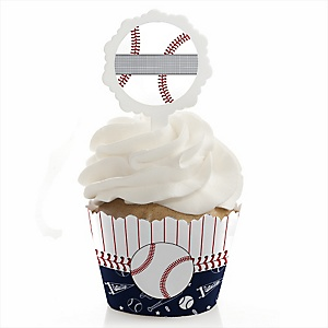 Batter Up - Baseball - Cupcake Wrapper & Pick Party Kit - Set of 24