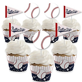 Batter Up - Baseball - Cupcake Decorations - Baby Shower or Birthday Party Cupcake Wrappers and Treat Picks Kit - Set of 24