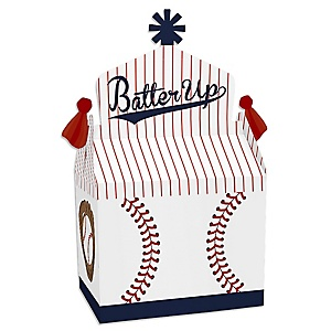 Batter Up - Baseball - Treat Box Party Favors - Baby Shower or Birthday Party Goodie Gable Boxes - Set of 12