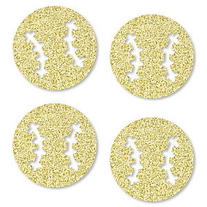 Gold Glitter Baseball - No-Mess Real Gold Glitter Cut-Outs - Baby Shower or Birthday Party Confetti - Set of 24