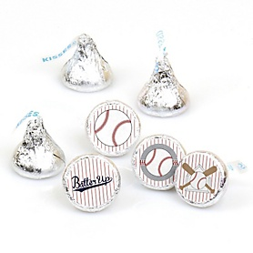 Batter Up - Baseball - Round Candy Labels Party Favors - Fits Hershey's Kisses - 108 ct