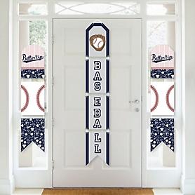 Batter Up - Baseball - Hanging Vertical Paper Door Banners - Baby Shower or Birthday Party Wall Decoration Kit - Indoor Door Decor