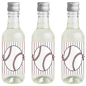 Batter Up - Baseball - Mini Wine and Champagne Bottle Label Stickers - Baby Shower or Birthday Party Favor Gift - For Women and Men - Set of 16