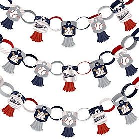Batter Up - Baseball - 90 Chain Links and 30 Paper Tassels Decoration Kit - Baby Shower or Birthday Party Paper Chains Garland - 21 feet