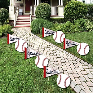 Batter Up - Baseball - Lawn Decorations - Outdoor Baby Shower or Birthday Party Yard Decorations - 10 Piece