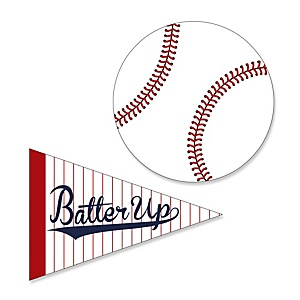 Batter Up - Baseball - Shaped Party Paper Cut-Outs - 24 ct