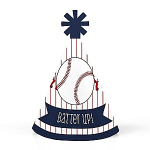 Batter Up - Baseball - Personalized Mini Cone Baby Shower or Birthday Party Hats - Small Little Party Hats - Set of 10