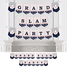 Batter Up - Baseball - Baby Shower or Birthday Party Bunting Banner - Party Decorations - Grand Slam Party