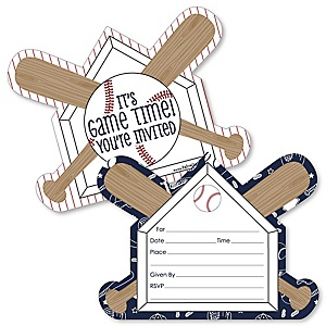 Batter Up - Baseball - Shaped Fill-In Invitations - Baby Shower or Birthday Party Invitation Cards with Envelopes - Set of 12