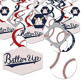 Batter Up - Baseball - Baby Shower or Birthday Party Hanging Decor - Party Decoration Swirls - Set of 40