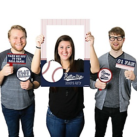 Batter Up - Baseball - Personalized Birthday Party or Baby Shower Selfie Photo Booth Picture Frame & Props - Printed on Sturdy Material