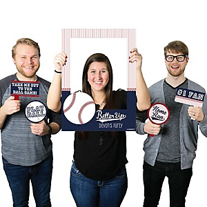 Batter Up - Baseball - Personalized Birthday Party or Baby Shower Photo Booth Picture Frame & Props - Printed on Sturdy Material