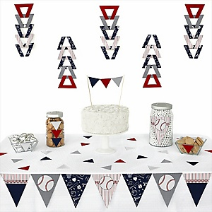 Batter Up - Baseball -  Triangle Party Decoration Kit - 72 Piece