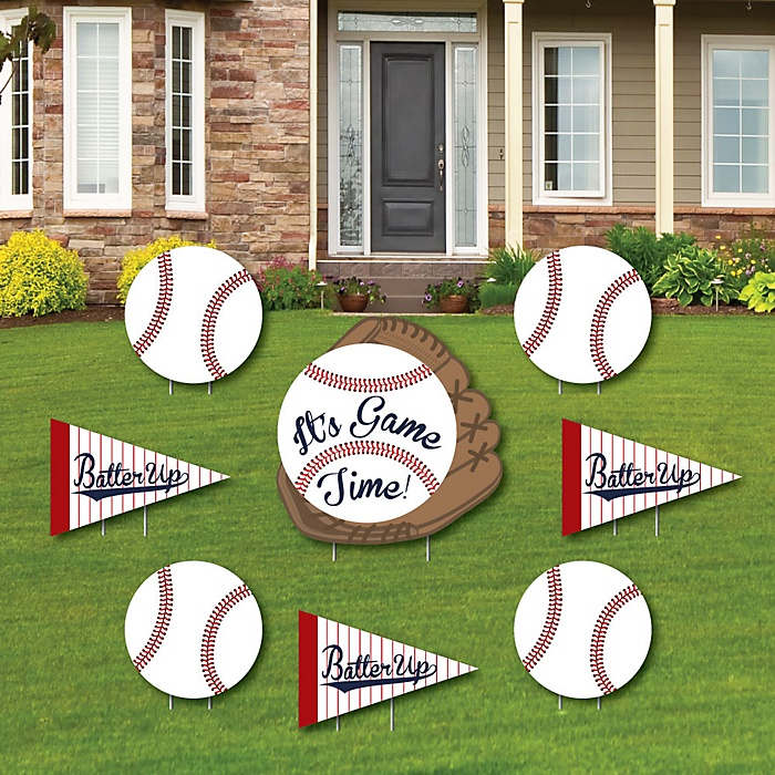 Batter Up - Baseball - Yard Sign & Outdoor Lawn Decorations - Baby Shower or Birthday Party Yard Signs - Set of 8