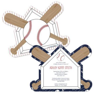 Batter Up Baseball Shaped Baby Shower Invitations