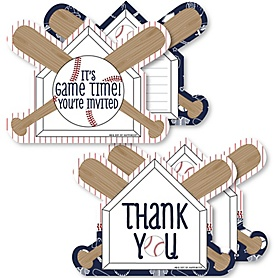 Batter Up - Baseball - 20 Shaped Fill-In Invitations and 20 Shaped Thank You Cards Kit - Baby Shower or Birthday Party Stationery Kit - 40 Pack