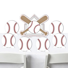 Batter Up - Baseball - Baby Shower or Birthday Party Centerpiece Table Decorations - Tabletop Standups - 7 Pieces