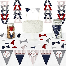 Batter Up - Baseball - DIY Pennant Banner Decorations - Baby Shower or Birthday Party Triangle Kit - 99 Pieces