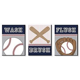 Batter Up - Baseball - Kids Bathroom Rules Wall Art - 7.5 x 10 inches - Set of 3 Signs - Wash, Brush, Flush