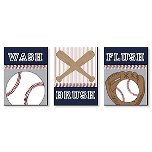 Batter Up - Baseball - Kids Bathroom Rules Wall Art - 7.5 x 10 inches - Set of 3 Signs - Wash, Brush, Flush