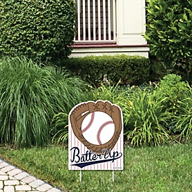 Batter Up - Baseball - Outdoor Lawn Sign - Baby Shower or Birthday Party Yard Sign - 1 Piece